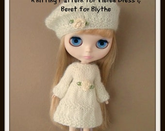 Instant Download PDF Pattern for Tiered Knitted Dress and Beret for Blythe