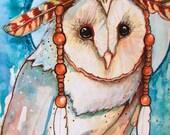 Shaman barn owl feathers headdress fine art 8x10 print
