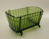 INDIANA GLASS CRADLE. Green Glass Cradle Dish, Candy Dish Bowl