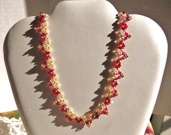 Elegant Ruby Red Pearls and Swarovski Bicone Crystal Necklace with a Vintage Flair