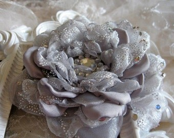 Organza and Silk Flower Brooch, Pin, Hairclip, Bridal Wedding Accessories