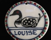 Personalized Loon Or Duck  Ornament   Porcelain