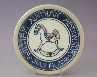 Personalized Child's Birth Plate -  Baby Gift New Baby Rocking Horse  Deluxe Multicolor