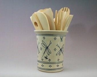 Large Kitchen Spoon Holder - Wine Caddy- Vase  Stoneware Blue Dragonfly
