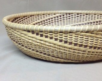 Hand Woven Nantucket Style Tray, Round, Beautiful Multi-Wood Base