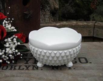 Diamond Point White Milk Glass Bowl by the Indiana Glass Company - Oak Hill Vintage