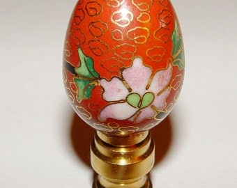Vintage Chinese Red Cloisonne Enamel Egg Lamp Finial