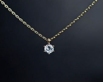 Cubic Zirconia Solitaire Necklace, Gold Plated CZ  Solitaire Necklace, Modern Minimalist Jewelry, Small CZ Dainty Necklace