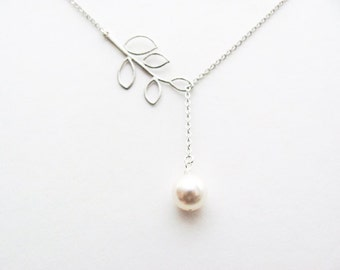 Pearl Drop Lariat Necklace in Silver- June Birthstone, bridal bridesmaids jewelry gifts, available in gold.