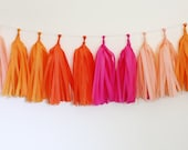 DIY Tassel Garland Kit - Hot Pink, Orange, Peach, Tangerine : Bright