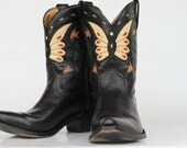 Beautiful vintage Made in Spain butterfly cutout leather ladies cowboy boots 9.5 M Mint