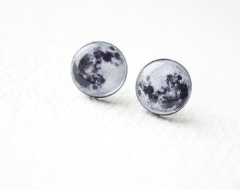 Full Moon - Astronomy jewelry - Space - Ear Studs