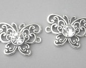 Silver butterfly connectors, Austrian crystal butterfly links, 26mm x 19mm, qty 2