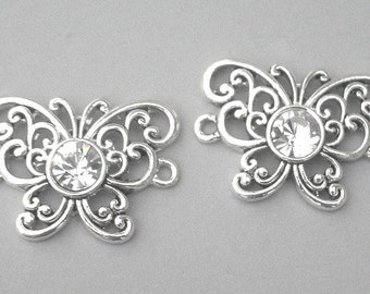 Gorgeous silver butterfly connectors, Austrian crystal butterfly links, 26mm x 19mm, qty 2