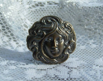 Art nouveau woman's head ring