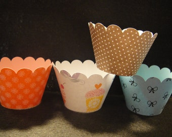 Cupcakes, Bows, Dots and Stripes - Cupcake Wrappers