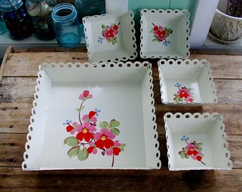 TIN TRAY SET Mid Century 5 pc openwork scalloped edges Handpainted Flowers 1950s 1960s