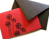 Valentine Agapanthus Floral Note Card in red and brown set of 6 This item made the front page of etsy
