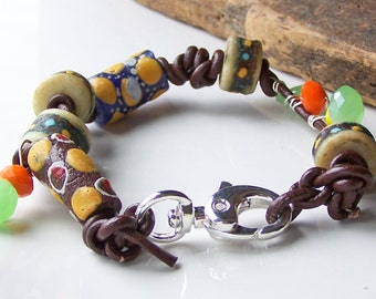 50% OFF Etsy, Etsy Jewelry, African Trade Bead Bracelet, Tribal Bracelet, Colorful Bracelet, Leather Bracelet, Beaded Bracelet
