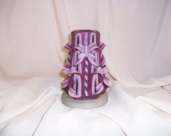 Carved candle-6 inch pink, white and purple bow candle