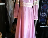 Lilac Daisy Crochet Peasant Maxi Dress XS-M