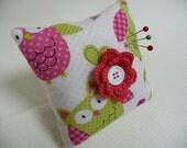 CUSTOM PIN CUSHION - You Choose Fabric, Flower Color, and Button Color - Pincushion