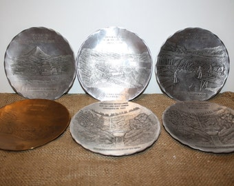 Hammered Aluminum and Bronze Plaques - set of 6