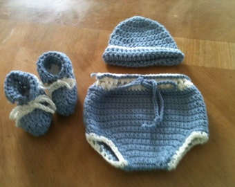 Newborn Boy Diaper Cover, Hat and Booties