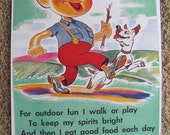 Retro Vintage Nutritional Guideline School Poster -- Circa 1950s   11 x 17