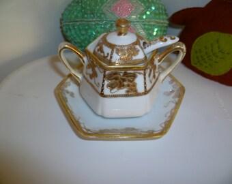 14K NIPPON Noritake Morimura Sugar Bowl or Mustard Pot Vintage Made in Japan