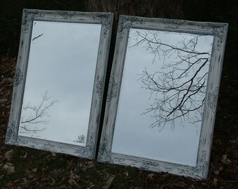 SALON Mirrors~ Set of 2 ~ Bathroom,Salon.,Shabby Chic Decor, Shown in White or Custom Color Lg. 30 x 42 Tall