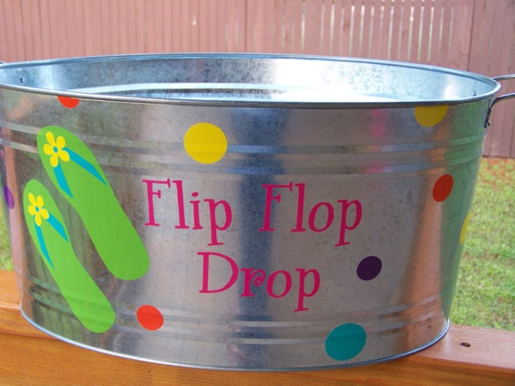 Flip Flop Drop tin bucket, silver galvanized bucket - READY TO SHIP