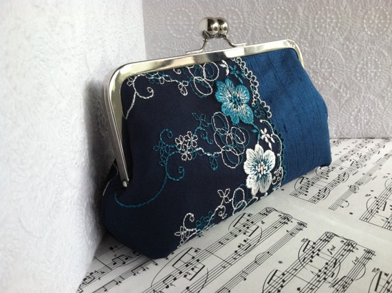 Teal silk evening bag with floral lace. Silk clutch purse