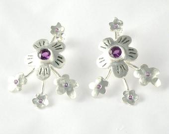 Purple Amethyst Earrings Sterling Silver Post Earrings, Amethyst Flowers Earrings, Spring Blossom Earrings, Gemstone Earrings