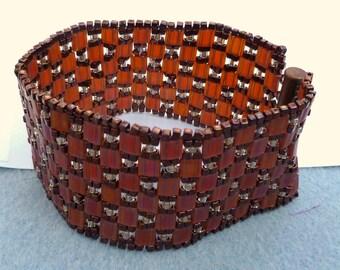 Art Deco vintage style copper color cuff bracelet