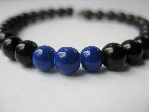 thin blue line blue and black beaded bracelet. Black Bedroom Furniture Sets. Home Design Ideas