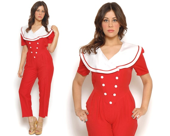 RESERVED 80s Jumpsuit Red White Nautical Retro Playsuit Sailor Peter Pan Collar 1980s Hipster Peg Leg Pants / Size M L Medium Large