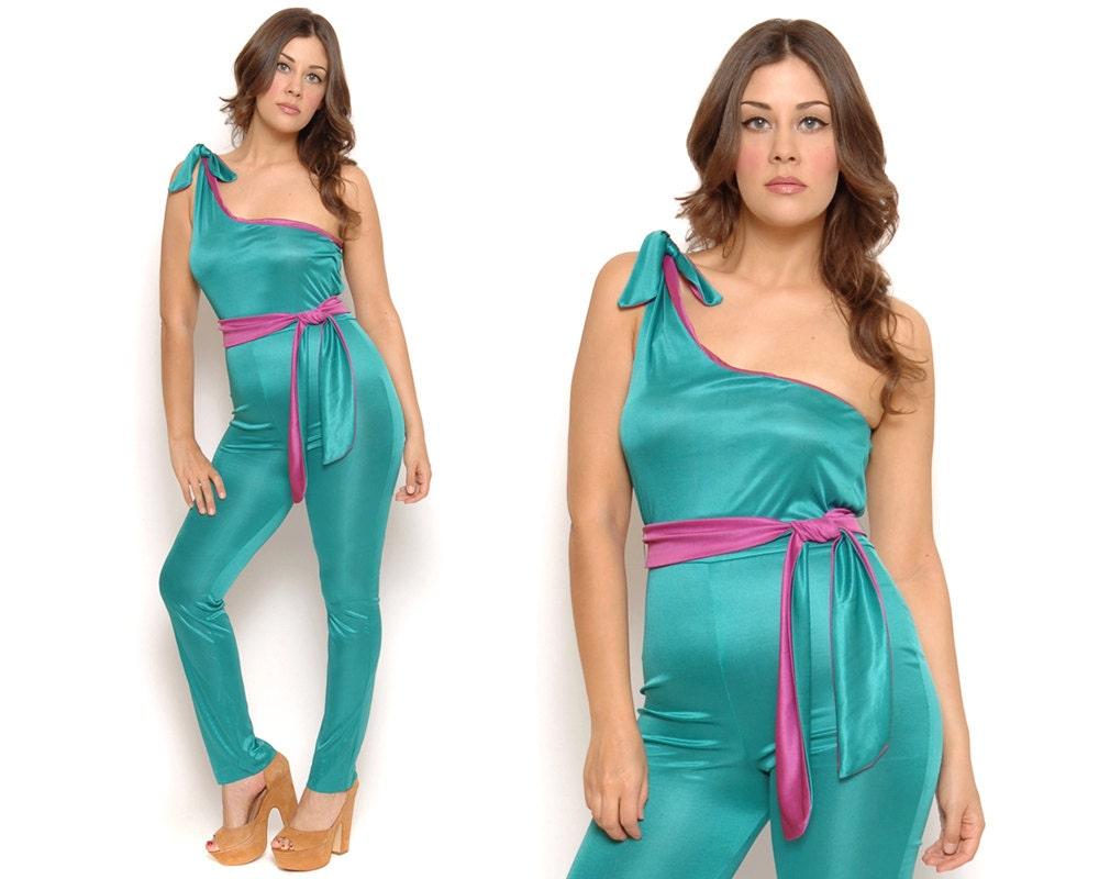 70s jumpsuit disco color block teal magenta by gravelghostvintage