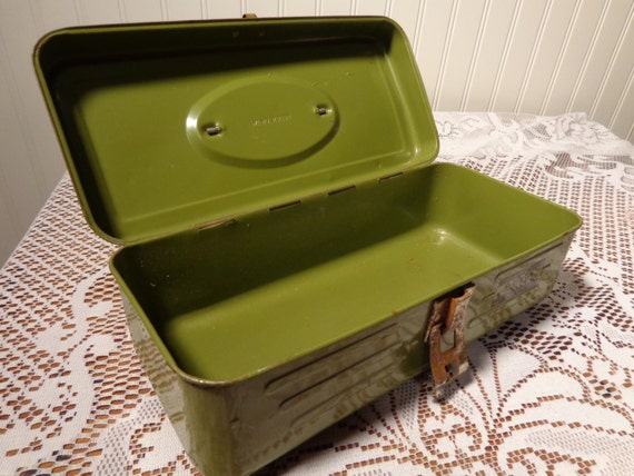 Vintage Utility Box Green Metal Tool Box by Union Steel Chest Corporation  -  13-955