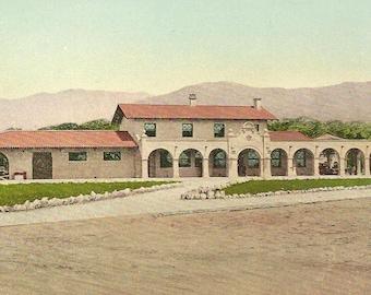 Southern Pacific Depot SANTA BARBARA California Coast Line SPRR  Unused Edward Mitchell Train Station postcard