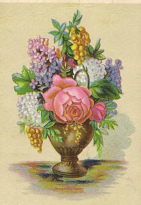 Victorian Swedish Scripture Card Psalm of David 103 Verse 22 Bountiful Vase of Flowers