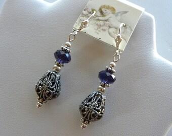 Purple Swarovski Earrings, Purple Velvet and Filigree Earrings, Tudor Earrings, Sterling Silver