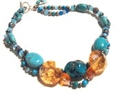 Chunky Turquoise Necklace with Peach Faceted Glass Crystals by Texas Artist Kelly E Marra, Ready to Ship, Sale - Now Marked 40% OFF