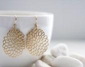 Chrysanthemum Earrings. Matt Gold. Everyday Wear. Modern Chic. Gift For Her (SER-54)