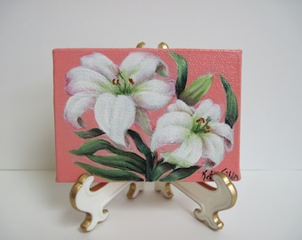 White Lilies, Miniature Original Painting, 2.5 x 3.5 inches, 63.5 x 88.9mm, Acrylic Painting