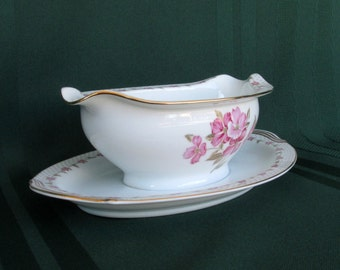 Vintage Noritake Elaine Gravy Boat with Attached Liner 5210