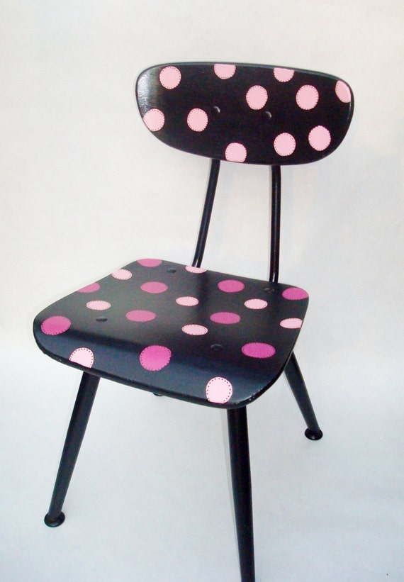 Reserved for ronihaskell  Recycled Child's Chair in Polka dots-SALE