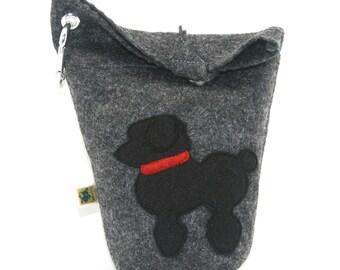 Poop Bag Holder Small Leash Bag Black Poodle