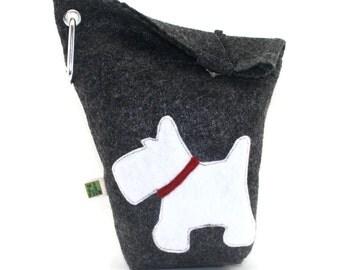Dog Poop Bag Holder Small Leash Bag White Scottish Terrier