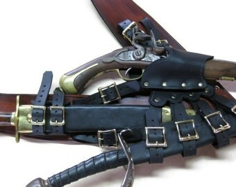 3 Inch Woodgrain Brown with Black Leather Pirate Pistol and Sword Baldric with Dagger Frog